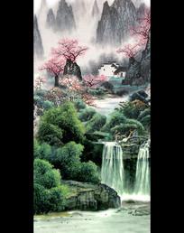 山水国画风景画水墨画玄关