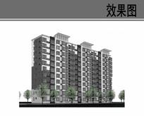 乡村规划小高层楼房透视图
