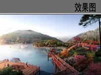 乡村湖光山色绿道效果图