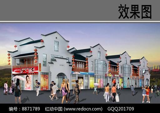 乡村商业街建筑效果图图片