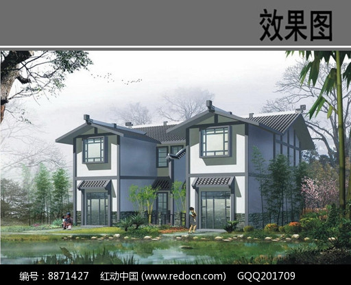 乡村新中式建筑效果图图片