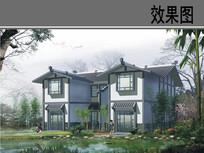 乡村新中式建筑效果图 JPG