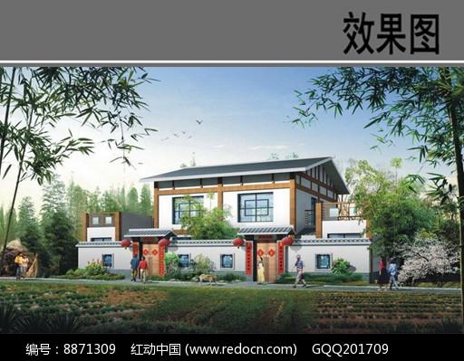 乡村中式独栋别墅效果图图片
