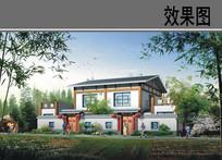 乡村中式独栋别墅效果图