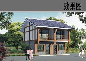 新中式二层乡村建筑效果图