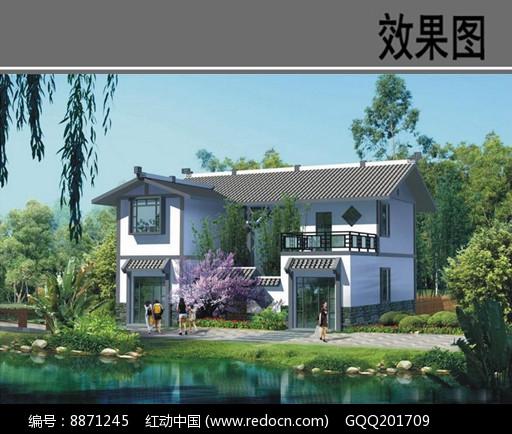 新中式乡村别墅效果图图片