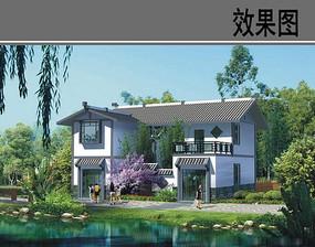 新中式乡村别墅效果图