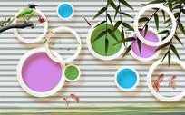 玉兰山水情3D圆圈竹子背景墙