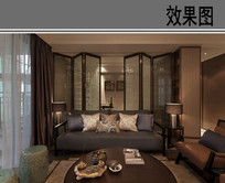 中式屏风隔断客厅