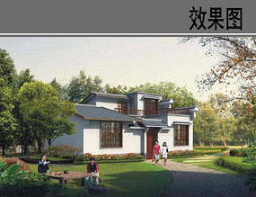 中式乡村别墅效果图