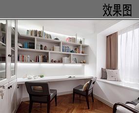 白色木质书房