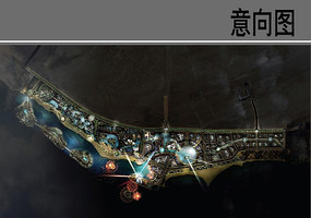 滨海度假中心夜景平面图