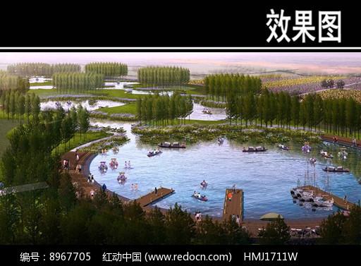 滨河景观水上游乐段鸟瞰图图片
