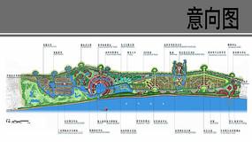滨水带状景观概念设计总平面图