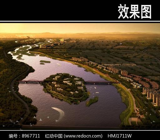 滨水河道景观鸟瞰图图片