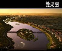 滨水河道景观鸟瞰图