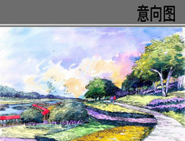 滨水生态景观节点手绘效果图 JPG