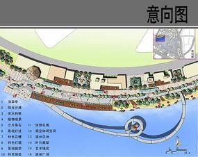 滨水中心商业景观区平面图