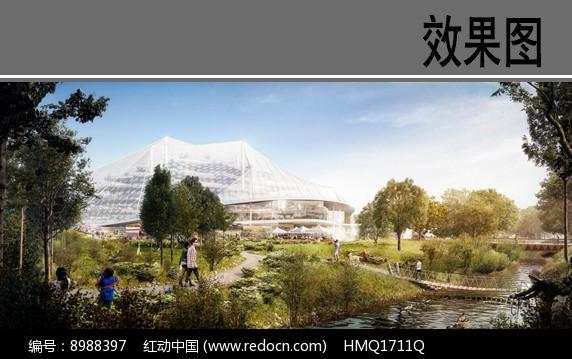 产业园区滨水景观效果图图片