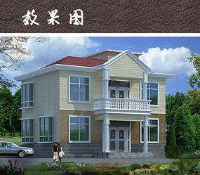 二层别墅建筑立面效果图