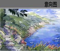 风景区景观手绘效果图