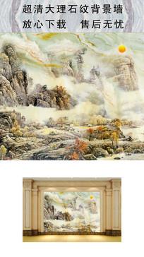 高清大理石纹背景墙山水日出图