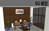 古典茶座区模型 skp