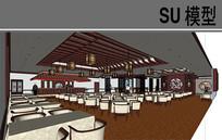 古典中式餐厅模型