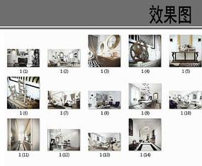 黑白风格室内装修透视图