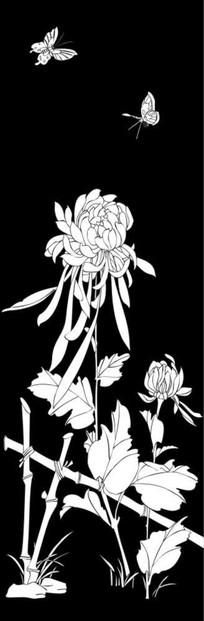 菊花园雕刻图案