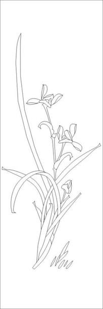 兰花雕刻图案 CDR