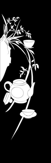 兰花品茶雕刻图案