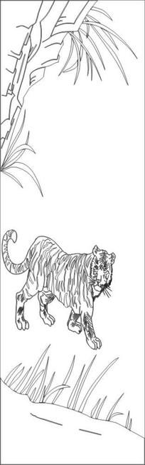 老虎动物雕刻图案