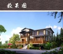 两层度假架空别墅建筑效果图