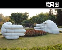 两只大手雕塑小品