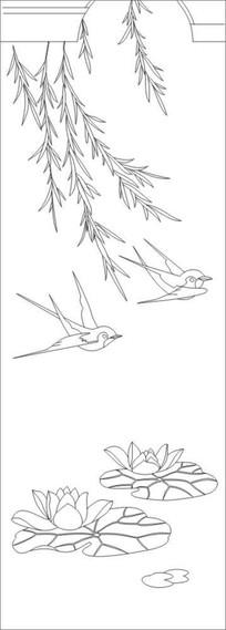 柳叶小鸟雕刻图案 CDR