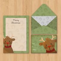 绿色精美圣诞节信封信纸设计