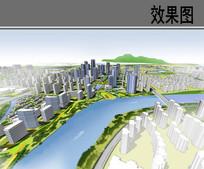 某滨水区域规划整体空间鸟瞰图