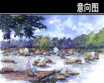 某公园涌泉景观手绘图