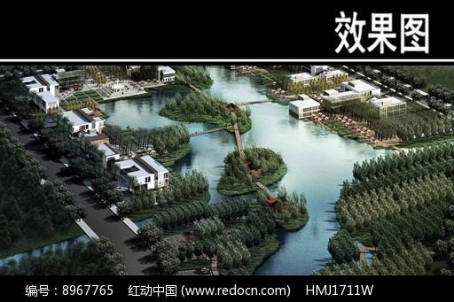 某河城市开放区滨水景观鸟瞰效果图片
