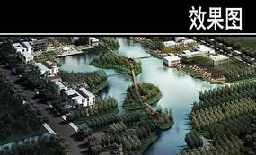 某河城市开放区滨水景观鸟瞰效果