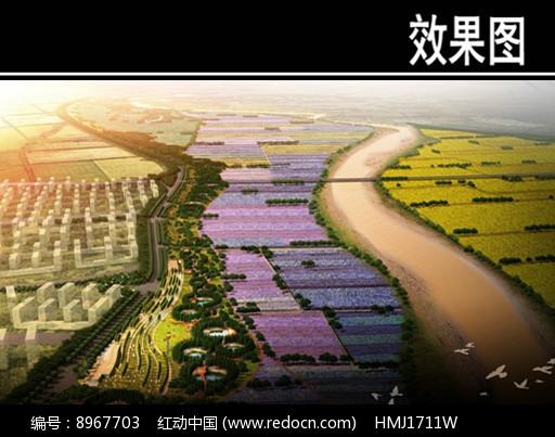 某河景观规划鸟瞰图图片