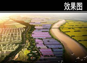 某河景观规划鸟瞰图