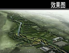 某河两岸景观带景观鸟瞰图