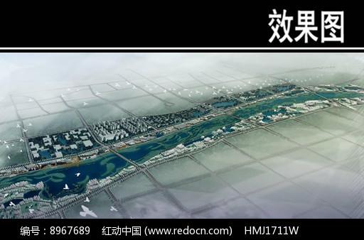 某河生态走廊景观鸟瞰图图片