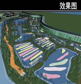 某河生态走廊湿地鸟瞰效果图