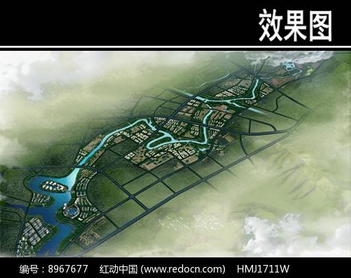 某溪两岸景观规划鸟瞰图图片