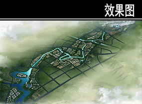 某溪两岸景观规划鸟瞰图