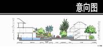 泰式风格居住小区泳池剖面图