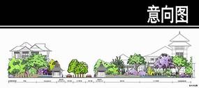 泰式风格居住小区主入口剖面图